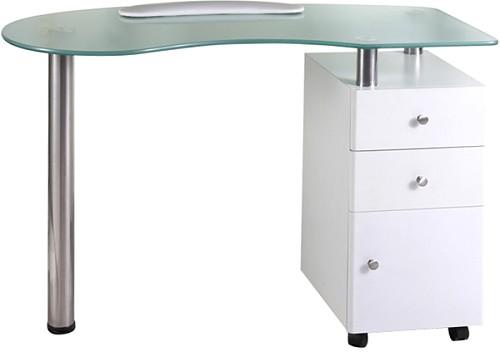 hairway plan de travail en verre 2 tiroirs et un placard table de manucure nailstation i. Black Bedroom Furniture Sets. Home Design Ideas